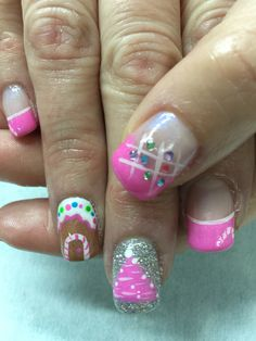Pink Christmas, Gingerbread House, Christmas Tree, Candy Cane, Rhinestone French gel nails. All done with non-toxic and odorless gel.
