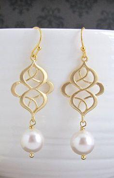 Modern Swirls Chandelier Drop Dangle Earrings. Matte