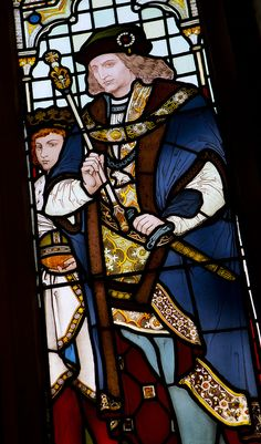 King Richard III as commemorated in stained glass in the windows of the magnificent Rochdale Town Hall. Richard, the last Plantagenet ruler of England, remains a controversial figure after his seizing the throne and the disappearance of the young King Edward V and his brother Prince Richard of Shrewsbury. The King killed during the Battle of Bosworth Field in 1485. www.mp.police.uk
