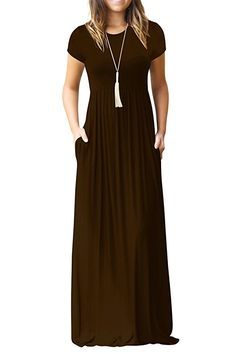 a34423e4dd5a Alickson Fashion Women s Scoop Neck Short Sleeve Long Dresses Casual Maxi  Dress Pockets at Women s Clothing store