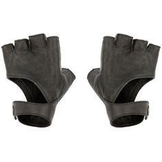 Black Fingerless Gloves - Leather Gloves - Riding Gloves - Fingerless... (135 SGD) ❤ liked on Polyvore