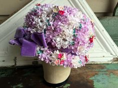 Vintage Brim Hat With big flowers And covered in petals Floral Hat by Holliezhobbiez on Etsy