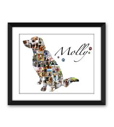 Golden Retriever Goldie Dog Puppy Service Dog Canine Pet Pet Memorial Pet Loss Custom Silhouette Photo Collage Wall Art Digital Printable - For Molly Diy Pet, Dog Rooms, Dog Crafts, Paw Print Crafts, Paw Print Art, Dog Memorial, Memorial Ideas, Pet Memorial Gifts, Photo Wall Collage