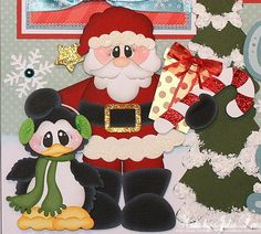 """""""Chillin' with Santa""""  premade scrapbook pages.  Available on ebay here:  http://www.ebay.com/itm/300810949774?ssPageName=STRK:MESELX:IT&_trksid=p3984.m1555.l2649"""