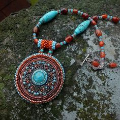"""Shadows Of Alhambra"" necklace - Czech and Japanese seed beads, vintage glass cabochon, copper filigree, agate and imitation turquoise."