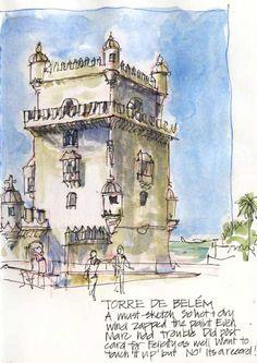 Sketchbook from Urban Sketchers Symposium in Lisbon July 2011 Watercolor Journal, Watercolor Artists, Travel Journal Scrapbook, City Sketch, Building Illustration, Sketching Tips, Artist Journal, Poses References, Steel Art