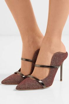 Malone Souliers - Maureen leather-trimmed metallic mesh mules 4456cd889f0