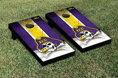 East Carolina University ECU Pirates Cornhole Game Set Grunge Version