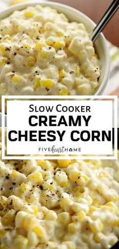 A rich and comforting crock pot recipe for dinner! This Slow Cooker Creamy Cheesy Corn is a delicious side dish thats the perfect addition to any holiday menu. It is a super easy slow cooker recipe that frees up the stove and the oven. Save this recipe f Holiday Side Dishes, Side Dishes Easy, Vegetable Side Dishes, Side Dish Recipes, Vegetable Recipes, Easy Thanksgiving Side Dishes, Easy Corn Recipes, Crock Pot Vegetables, Veggies