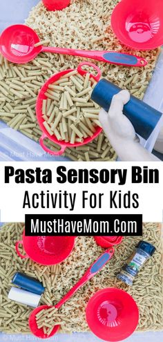 This pasta sensory bin activity is perfect for little ones who love to pretend play cooking! Use this in a sensory table for preschoolers or create your own sensory bins at home.
