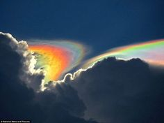 'Fire rainbows' are a rare phenomenon that only occur when the Sun is higher than 58° above the horizon and its light passes through cirrus clouds made of ice crystals.
