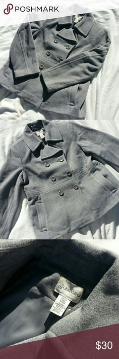 Wool Peacoat Beautiful gray peacoat by St. John's Bay. Size large petite but fits like a regular large. Some slight wear on the left sleeve. (I tried to show it in the picture) it's not super noticeable but i still wanted to mention it. Other than that this coat is clean and in good shape! St. John's Bay Jackets & Coats