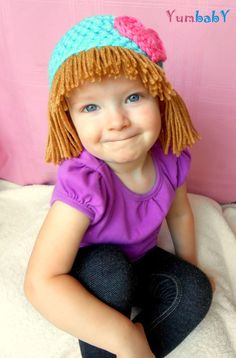 cabbage patch hat aqua photo prop baby wigs by yumbaby on etsy