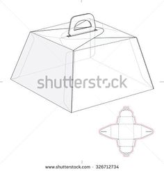 Caring Birthday Cake Box with Die Line Template