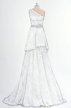 Custom Wedding Gown/ Dress Illustration on por ForeverYourDress