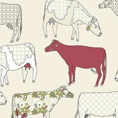 Contemporary Retro Farm Kitchen Wallpaper Shabby Chic Country COW Red Green Blue