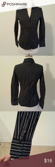 Express fitted striped button up 💜Excellent condition. Size small. Blue, black and gray stripes. Express Tops Button Down Shirts