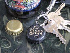 "Bottle Cap Shaped Keyring Bottle Opener in Black and Gold ""I Love Beer"" by GreyInnovations"
