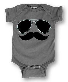 Look at this #zulilyfind! Charcoal Sunglasses & Mustache Bodysuit - Infant #zulilyfinds