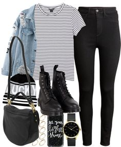 Outfit with black jeans and a denim jacket by ferned featuring River…
