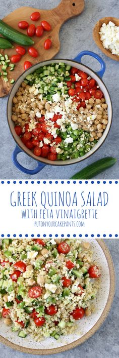 This Greek quinoa salad with feta vinaigrette is a great foundation for a healthy desk lunch! Just add your protein of choice: shredded rotisserie chicken, a salmon patty, a hard-boiled egg, etc.
