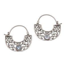 Blue topaz hoop earrings, 'Blue Jasmine' - Handcrafted Sterling Silver and Blue Topaz Earrings (image 2a)
