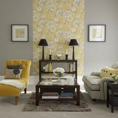 yellow and grey room...I like the idea of using wallpaper/a print down the center of the wall for contrast