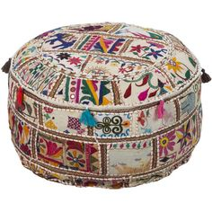 Showcasing a colorful patchwork design and tassel accents, this handmade cotton pouf brings bohemian appeal to your living room or den.      ...