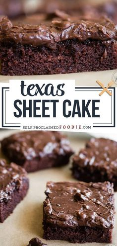 Texas Sheet Cake is made in large baking sheet topped with warm fudge like pecan frosting. This sweet frosted chocolate Easy Chocolate Desserts, Köstliche Desserts, Chocolate Recipes, Chocolate Cake Recipe Easy, Chocolate Frosting, Best Homemade Chocolate Cake Recipe, Texas Chocolate Sheet Cake, Homemade Cheesecake, Chocolate Fudge Cake