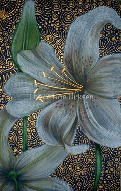 White Tiger Lilies, by Cherie Roe Dirksen, chalk pastel and acrylic Lily Painting, Fabric Painting, Art Floral, Acrylic Flowers, White Lilies, Chalk Pastels, Painting Inspiration, Flower Art, Beautiful Flowers