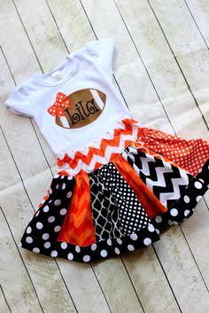 girls football outfit  Cincinnati Bengals Texas Longhorns football fall skirt set orange and black outfit girls football shirt with name on Etsy, $59.00