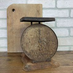 This black vintage scale has awesome patina. #rustygold This vintage scale has a great trendy look. The Junk Parlor | Old stuff and cool junk for your home thejunkparlor.com Flea Market Finds, Antiques For Sale, Black Metal, Vintage Black, Farmhouse Decor, Repurposed, Vintage Items, Scale, Old Things