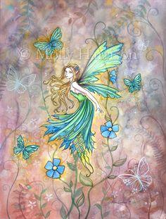 Enchanted Garden Flower Fairy Art - Fine Art Giclee Print 12 x 16