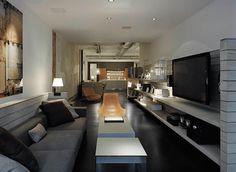 SoHo Loft with a Boardwalk - Remodelista Diy Living Room Decor, Small Living Rooms, New Living Room, Living Room Kitchen, Living Spaces, Black Art, Black White, Room Interior, Interior Design