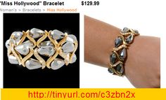 """Faceted pear-shaped silver glass beads nestled in smooth curves finished in gleaming gold and Swarovski clear crystal are on the hunt to adorn """"Miss Hollywood.""""  6.5"""" or 7"""" stretch cuff bracelet  Nickel and lead free."""