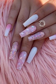 Acrylic nail designs 371476669268338587 - 23 Really Cute Acrylic Nail Designs Y. - Nails ~ Fabulous - Acrylic nail designs 371476669268338587 – 23 Really Cute Acrylic Nail Designs You'll Love Bling Acrylic Nails, Acrylic Nails Coffin Short, Best Acrylic Nails, Pink Coffin, Pointy Nails, Acrylic Spring Nails, Pink Bling Nails, Pink Tip Nails, Ballerina Acrylic Nails