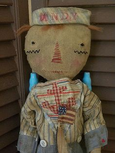Primitive Raggedy Andy Extreme Primitive Old Cloth by mustardseed, $72.99