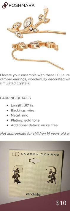 LC Lauren Conrad Leafy Vine Climber Earrings New! Gold Tone LC Lauren Conrad Jewelry Earrings
