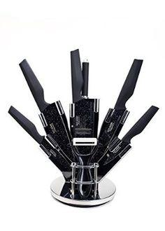 Set Ross Henery Professional di 8 coltelli da cucina in acciaio inox con esclusive ed eleganti lame nere, in ceppo
