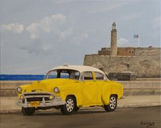 """Oil painting titled """"Vintage Cuba - Malecon & El Morro"""", done on a 16"""" x 20"""" x 1.5"""" canvas.  SOLD"""