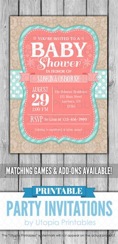 A printable teal, coral and brown baby shower invitation with flowers and aqua blue polka dots on a brown and beige floral pattern background. Cute coral and turquoise digital party invite template with a unique cottage chic design to fit your shower idea, style or theme. Perfect for a country or garden themed shower. This customized announcement card will be personalized with your custom text. Colors can be changed upon request. DIY file that you can download and print at home. Printable Baby Shower Invitations, Digital Invitations, Baby Shower Printables, Party Invitations, Shabby Chic Baby Shower, Baby Boy Shower, Coral Baby Showers, Teal Coral, Announcement Cards
