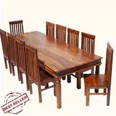 Rustic Lincoln Study Large Dining Room Table & Chair Set For 10 People