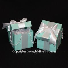 2 Centerpieces - Tiffany Co. Inspired Boxes with Lids - Tiffany Blue and White - Designed for Rectangular Tables on Etsy, $16.00