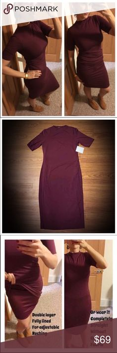 "NWT lined wine-colored 92% Rayon Midi Dress 📦Same day shipping (excluding Sun/holidays or orders placed after P.O. Closed) ❤️Save on shipping: Add all of your ""likes"" to a bundle and submit an offer  This dress is so fabulous for many body types. Wear it tight/straight or gather the fabric for a ruched look. Note: I am modeling my own personal size Medium & the last photo is my measurements. Flat measurements for large: 17.5"" across bust, 42.5"" long and inner skirt 40"" long. Material…"