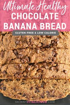This Ultimate Healthy Chocolate Chip Banana Bread is a chocolate lovers dream! Made with wholesome ingredients and with zero added sugar or oil, this gluten and dairy free banana bread is the ultimate sweet treat! Low Calorie Banana Bread, Dairy Free Banana Bread, Low Calorie Chocolate, Low Calorie Desserts, Healthy Banana Bread, Healthy Chocolate, Chocolate Chips, Healthy Bread Recipes, Healthy Vegan Snacks