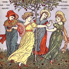 'The baby's opera - a book of old rhymes, with new dresses' by Walter Crane; engraved & printed in colours by Edmund Evans; the music by the earliest masters. Published 1900 by Frederick Warne and Co., London & New York