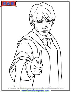 Holding A Magic Wand  Harry Potter Coloring Pages  Pinterest