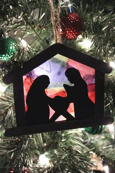 DIY ornaments make excellent keepsake crafts or gifts! These stained glass nativity ornaments are awesome for big kids to complete independently, or great for toddlers as their make the mosaic themselves on a sticky table. Recycled Christmas Decorations, Recycled Christmas Tree, Kids Christmas Ornaments, Nativity Ornaments, Nativity Crafts, Christmas Art, Diy Ornaments, Christmas Nativity, Christmas Projects
