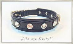 WoW - XL Swarovski Stones on black Canadia Leather - Simply elegant! Handcrafted by Koko von Knebel
