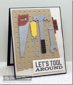 Let's Tool Around, Linen Background, Blueprints 15 Die-namics, Pegboard Cover-Up Die-namics, Tool Time Die-namics - Barbara Anders #mftstamps